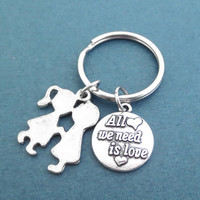 All we need is love, keyring, keychain, Heart, Love, Key chain, Key ring, Birthday, Lovers, Best friend, Gift