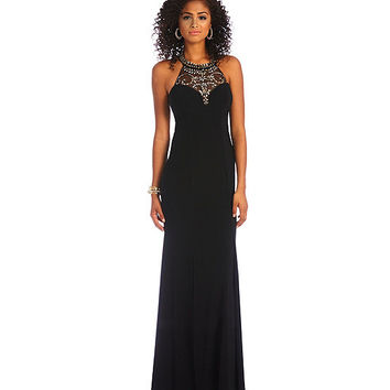 B. Darlin Illusion Embellished Neckline Mermaid Dress | Dillards