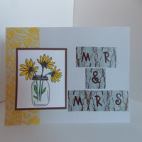 Rustic Country Wedding - Engagement - Bridal Shower Handmade Greeting Card - Sunflowers and Mason Jar - Wood Letters - Mr and Mrs