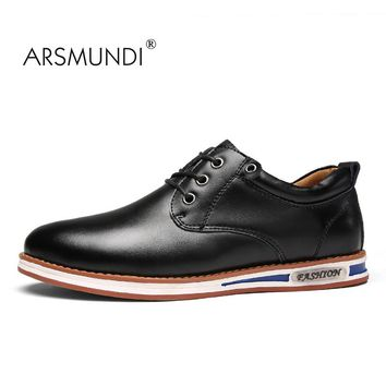 ARSMUNDI Original Men Casual Shoes Fall 2017 Man's Casual Shoes Genuine Leather Breathable Waterproof Mens Casual Shoes DP-9950