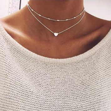 Hot Fashion Jewelry Women's  Simple Sliver Gold color Chain Necklace lariat Charm Bar Necklaces & Pendants For women gift A02