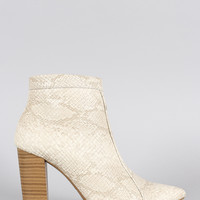 Wild Diva Lounge Snake Pointy Toe Heeled Ankle Boots
