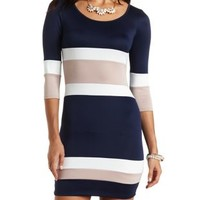 Striped Scuba Knit Bodycon Dress by Charlotte Russe - Navy Combo