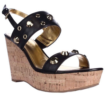 Ivanka Trump Gitty Platform Studded Wedge Sandals, Black, 9.5 US