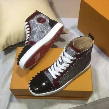 Christian Louboutin autumn and winter new high-top shoes rivet sequin men's shoes