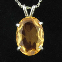 Golden Citrine Necklace in Silver Basket Setting