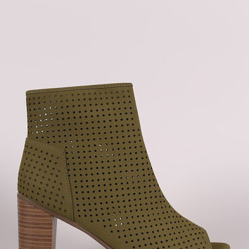 Breckelle Perforated Nubuck Chunky Heeled Booties