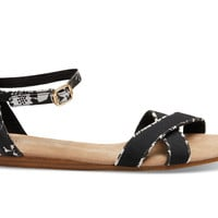 TOMS Black and White Tropical Print Women's Correa Sandals Black