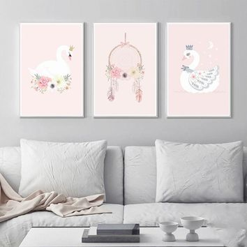 Nordic Decoration Kids Room Posters And Prints Pink Wall Art Canvas Painting Swan Canvas Art Wall Pictures Home Decor Unframed