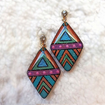 ORANGE - BLUE GEOMETRIC EARRING AZTEC TRIBAL DIAMOND SHAPE