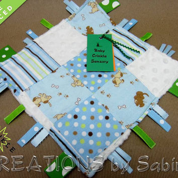 Baby Crinkle Sensory, Patchwork, Ribbon Sensory, Tag Blanket, Boy, Blue White Green, Dogs Puppies Doggies, Minky READY TO SHIP 96