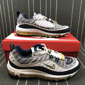 Nike Air Max 98 OG White/Tour Yellow-Midnight Navy-Cement Grey Sports Running Shoes