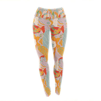 "Akwaflorell ""Fishes Here, Fishes There 2"" Multicolor Yoga Leggings"