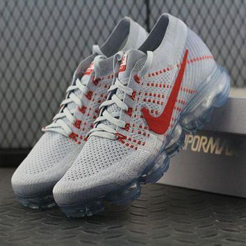 PEAPUX5 Nike Air VaporMax Vapor Max 2018 Flyknit Men White Red Sport Running Shoes 849558-006