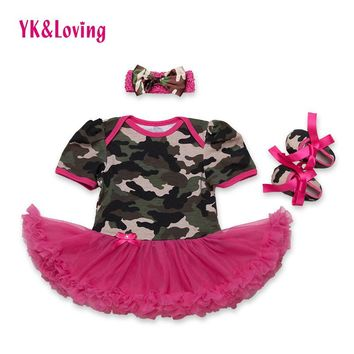 Baby Dress Infant Camo Girls Dress with Red Ruffle Cotton Fashion Baby Girl Vestidos +