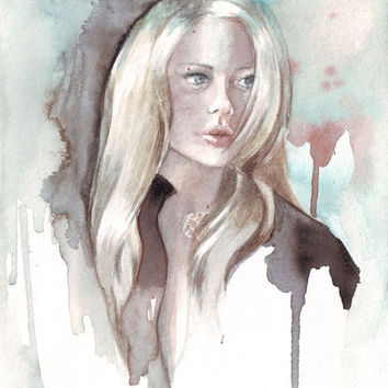 Original watercolor painting of Blonde woman with contemporary background  art