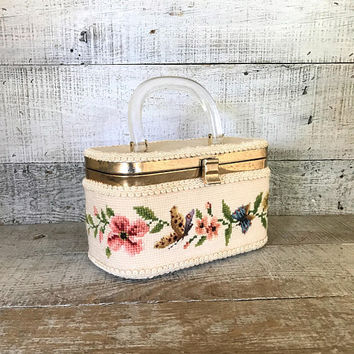 Needlepoint Purse Needlepoint Box Purse Needlepoint Flower Box Bag with Lucite Handle Tapestry Box Purse Needlepoint Tapestry Purse