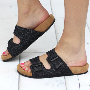 Minnetonka: Gypsy Slide On Acid Wash Sandal {Black Denim}