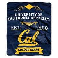 "Cal Berkeley OFFICIAL Collegiate, ""Label"" 50""x 60"" Raschel Throw  by The Northwest Company"