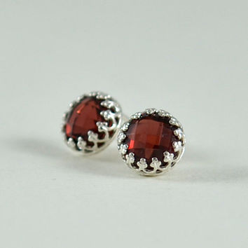 Raspberry Red Silver Stud Earrings - Sterling Stud Earrings with 8mm Red Garnet Gemstones by Gioielli Designs