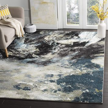 0106 Blue Abstract Design Contemporary Area Rugs