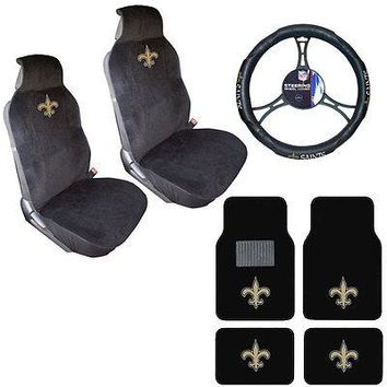 Licensed Official NFL New Orleans Saints Car Truck Seat Covers Steering Wheel Cover & Floor Mats