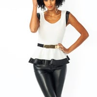 Naughty-And-Nice-Peplum-Top OFFWHITE - GoJane.com