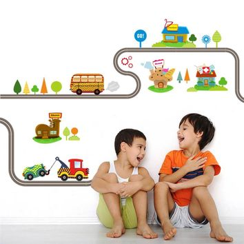 Car on the Road Wall Decals