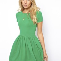 ASOS Skater Dress With Slash Neck And Short Sleeves - Green