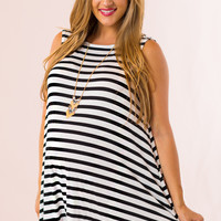 Bold Striped Maternity Dress in Black