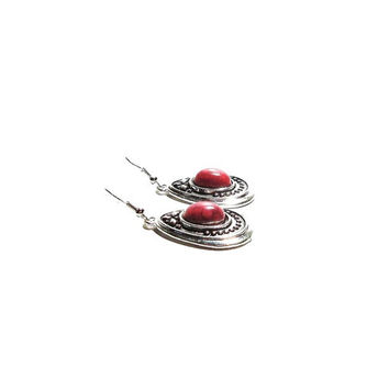 Antique Silver Tear Drop Red Coral  Earrings