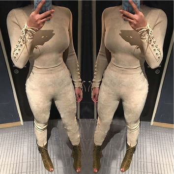 Yissang Lace up design Rompers Womens bodysuit Jumpsuit Long sleeve Suede female Lady Clothing two Color drop shipping