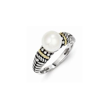 Antique Style Sterling Silver 8mm Freshwater Cultured Pearl Ring