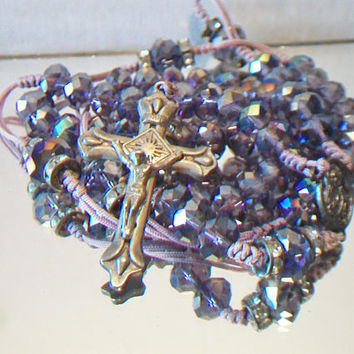 Vintage Lavender Crystal Rosary Beads Religious Purple Christian Catholic Gifts