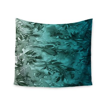 """Ebi Emporium """"Forever Flowers, Teal Ombre"""" Teal Gray Watercolor Wall Tapestry"""