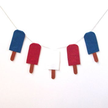 July 4th red, white and blue popsicle banner, Independence Day party banner