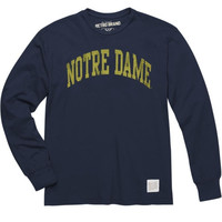 Original Retro Brand Notre Dame Fighting Irish Two-Hit Navy Blue Vintage Long Sleeve T-Shirt