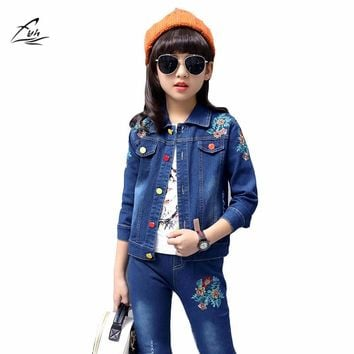 FYH Autumn Spring School Girls Denim Clothing Set Jean Jacket+Denim Pants Jeans 2pcs Children Girls Denim Suit Kids Clothing Set