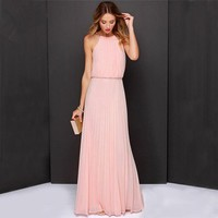 The Grace Dressy Long Chiffon Halter Dress