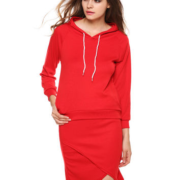 Hooded Long Sleeve Sweatshirt with Asymmetric Mini Bodycon Skirt Set