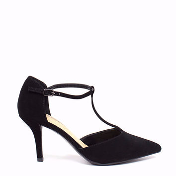 Pointy T-strap Heel Pump