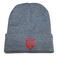 DEBANG Indiana Hoosiers Logo Beanie Fashion Unisex Embroidery Beanies Skullies Knitted Hats Skull Caps - Grey