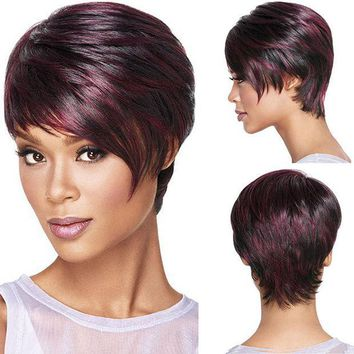 PEAPHY3 30cm Fashion Sexy Fluffy Bob Ladies Synthetic Wig Women Tilted Frisette Short Hair Cosplay Wigs Wine Red