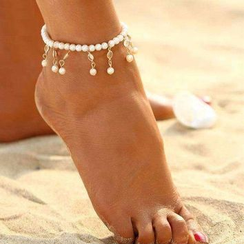Pearl and Crystal Drop Ankle Bracelet Accented In Silver or Gold