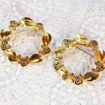 Vintage Jewelry Set, Scatter Pins, Circle Wreath Brooches, Gold Tone, Leaves Flowers, 1950s Mad Men, Floral Nature Jewelry