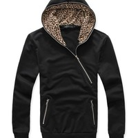 FREE SHIPPING  Black Fsahion All-Matching Cotton And Blends Men Leopard Grain Hoodie M/L/XL T-9108015 from TopManClothing