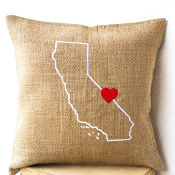 Burlap Pillows- State Pillow cover -Embroidered pillow- Personalized Pillow- Customized Cushion- Gift- 24x24- California Pillow- Birthday