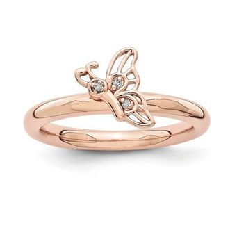 Rose Gold Sterling Silver Stackable Expressions Diamond Butterfly Ring