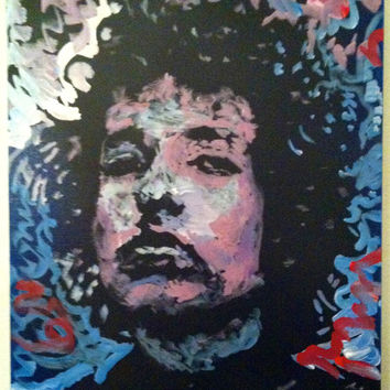 Neo Psychedelic Pop Art - Bob Dylan - Original Hand Painted Acrylic Painting - Expressionist Art Fine Art  - Wall Art Home Décor Interior
