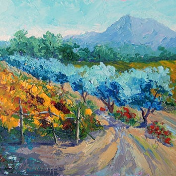 "Impressionist Oil Painting, French Countryside, Provence Landscape Palette Knife painting,  7x10"", small format art by Marion Hedger,"
